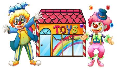 toy shop: Illustrazione di due clown di fronte a un negozio di giocattoli su uno sfondo bianco