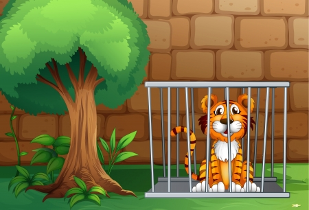Illustration of a tiger inside the animal cage Vector