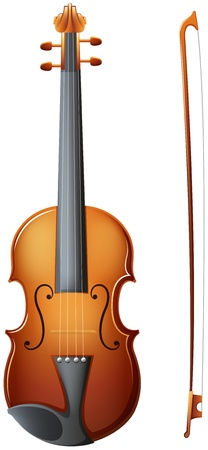 nylon string: Illustration of a violin on a white background Illustration