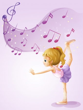 sixteenth note: Illustration of a girl dancing with musical notes