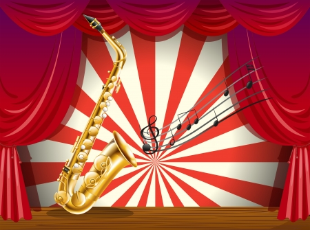 Illustration of a saxophone and the musical notes at the stage Vector