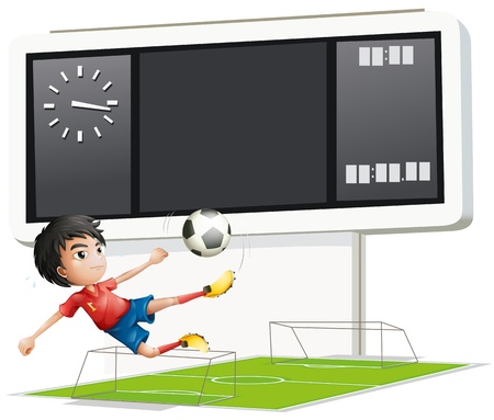 boys soccer: Illustration of a soccer player inside the gym with a scoreboard on a white background