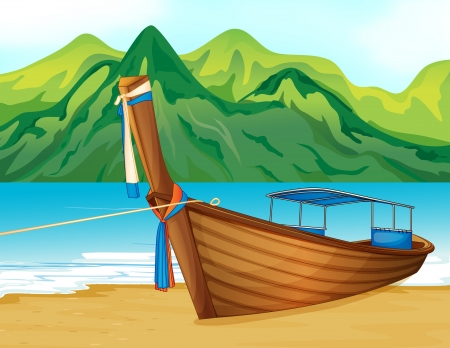 longtail: Illustration of a beach with a wooden ship