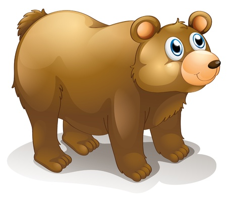 bear cub: Illustration of a big brown bear on a white background