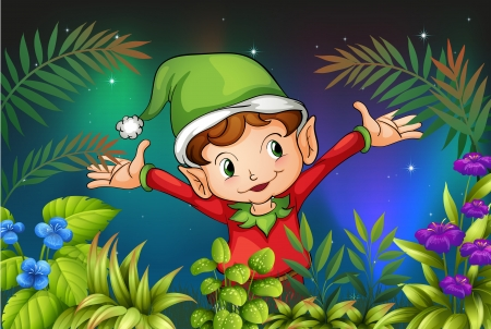 wet leaf: Illustration of an elf at the garden Illustration