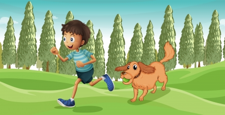 dog run: Illustration of a dog playing with his master