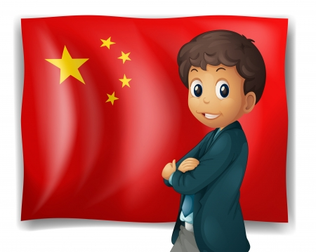 chinese flag: Illustration of a young boy in front of a Chinese flag on a white background