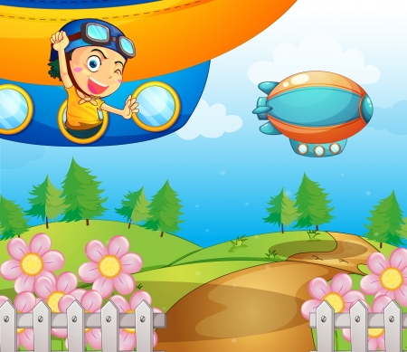 garden fence: Illustraton of a boy inside the aircraft Illustration