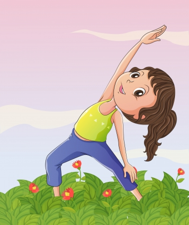 Illustration of a girl exercising at the garden Vector