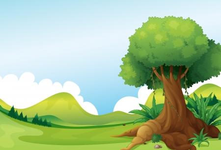 Illustratie van een grote boom met wijnstokken planten in de buurt van de heuvels Stock Illustratie