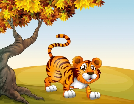 Illustration of a tiger in a jumping position near the big tree