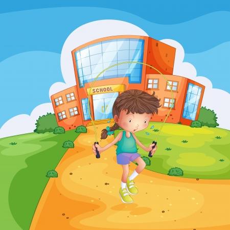 Ilustración de una niña sudoroso jugando frente a un edificio de la escuela