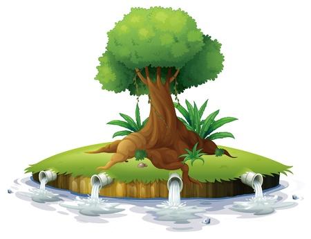 riool: Illustratie van een grote boom in een eiland op een witte achtergrond