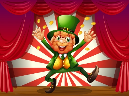 leprechauns hat: Illustration of an old man at the stage throwing coins Illustration