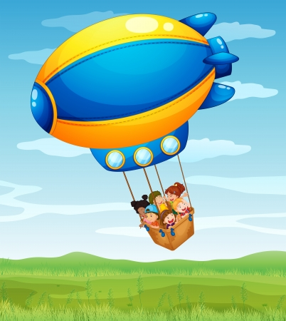 airship: Illustration of a stripe airship carrying a group of kids