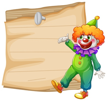 Illustration of a brown empty signage with a clown on a white background Vector