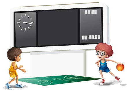 scores: Illustration of the two boys playing basketball in a court with a scoreboard on a white background