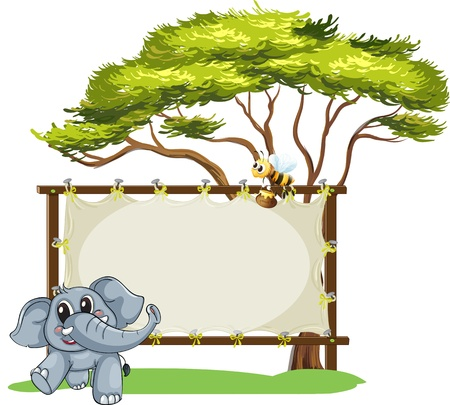 Illustration of a signage with a young gray elephant and a bee on a white background Vector