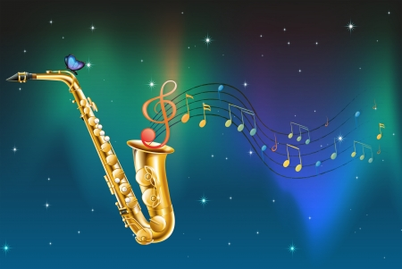 Illustration of a saxophone with a butterfly and musical notes Vector
