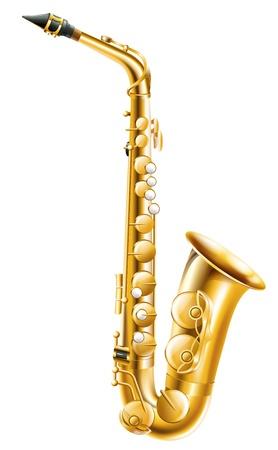 Ilustración de un saxofón de oro sobre un fondo blanco.
