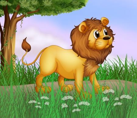 leon bebe: Ilustración de un león grande en la carretera