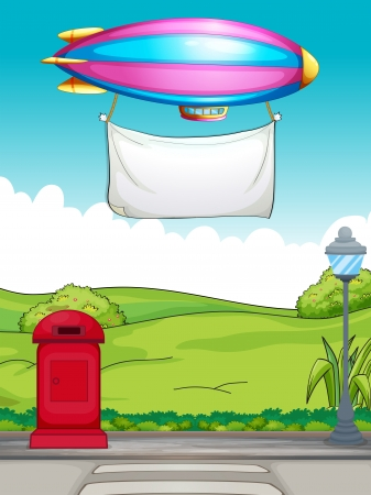 Illustration of a white banner carried by a colorful aircraft Vector