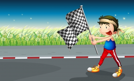 Illustration of a boy walking at the street with a banner Vector