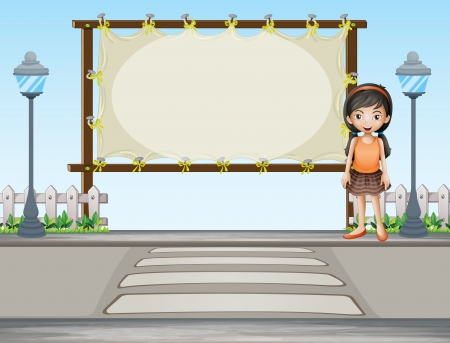Illustration of a girl beside a rectangular signage Stock Vector - 18266196
