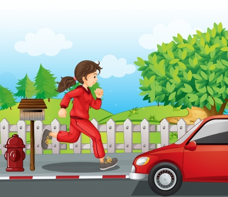 running pants: Illustration of a girl in a red jacket and pants running