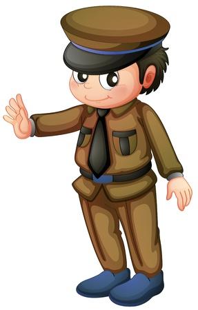 Illustratie van een politieagent in een bruin uniform op een witte achtergrond
