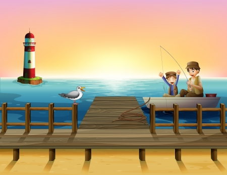afternoon: Ilustraci�n de una puesta de sol en el puerto de pesca con los chicos Vectores