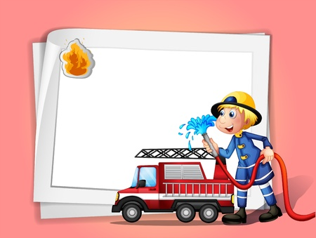 fire fighter: Illustration of a fireman with a water hose and a truck