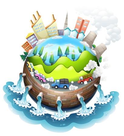 contaminacion aire: Ilustración de una vista aérea de la ciudad sobre un fondo blanco