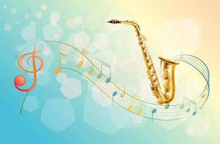 simbolos musicales: Ilustraci�n de un saxof�n y los s�mbolos musicales Vectores