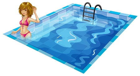 Illustration of a girl at the pool on a white background