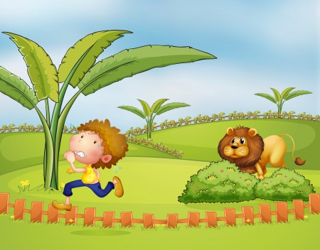 platano caricatura: Ilustraci�n de un muchacho corriendo seguido por el le�n