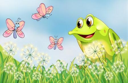 Illustration of a frog with three butterflies Vector