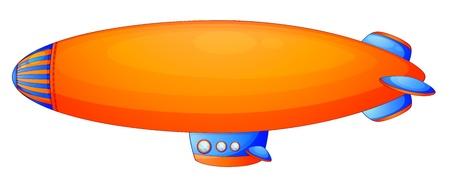 blimp: Ilustraci�n de un dirigible naranja sobre un fondo blanco Vectores