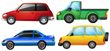 4 wheel: Illustration of the four different vehicles on a white background Illustration
