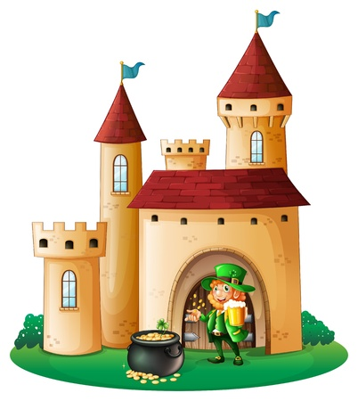 Illustration of a castle with an old man and a pot of coin on a white background Stock Vector - 18266317