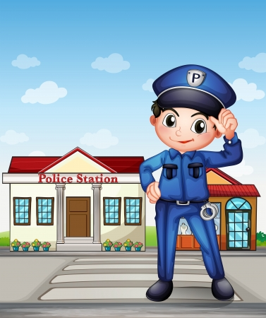 security officer: Illustration of a police officer in front of a police station