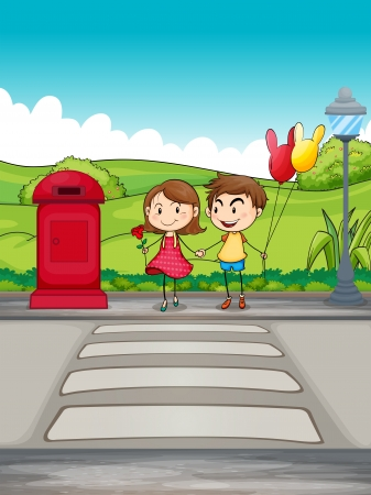the crossing: Illustration of a girl and a boy crossing the street