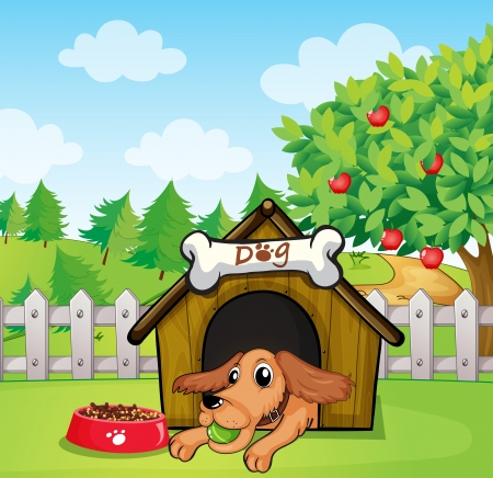 dog kennel: Illustration of a dog with a ball inside a doghouse