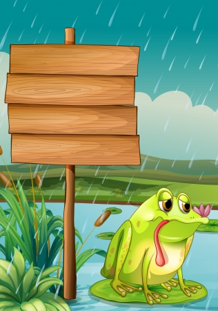 Illustration of an empty signboard and a frog under the rain Vector