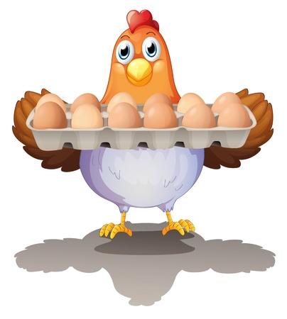 Illustrazione di una gallina in possesso di un vassoio di uova su uno sfondo bianco