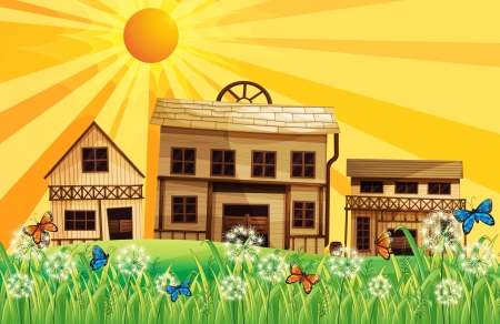 wooden houses: Illustration of the wooden houses and the sunset Illustration