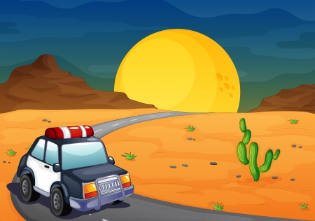 Illustration of a police car at the desert Vector