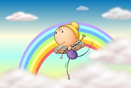 cartoon rainbow: Ilustraci�n de un �ngel en el arco iris
