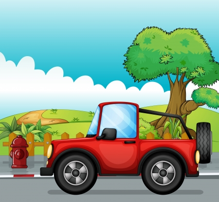 cartoon road: Illustration of a red jeep at the street Illustration