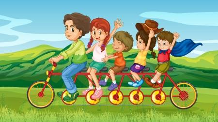 Illustrazione di un uomo in sella a una moto con quattro bambini